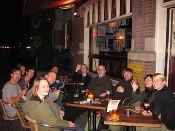 Post-gig celebration at Ooiejevar...(L-R) John Dikeman, ?, Jasper Staudhouders, Barret (sp?), me, Andrea Taeggi, Jolanda Vanderwal Taylor, Gregory Tay