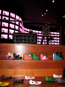 Jesse looking at shoe display