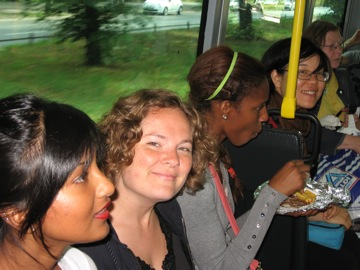 Ayesha, Ariana and Carolyn (behind pole) on the way to Mauerpark