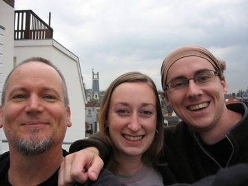 Jeff, Dana Jessen, Mike Straus on the roof of their house