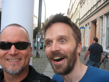 With Roy Carroll, post-caffeine in Prenzlauer Berg
