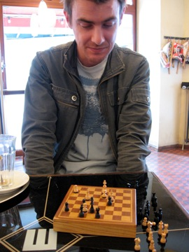 Chess at Café Manolo with Keith O'Brien