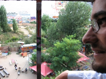 Phil on the fourth floor, looking out on Tacheles courtyard.