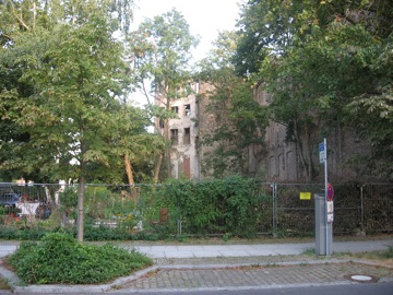 A bombed out building by the Italian embassy