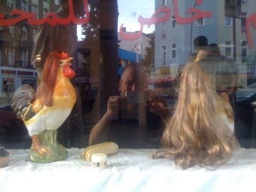 Chickens with wigs
