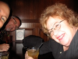 Dottie Grossman having a drink with Vlat and Kaiser