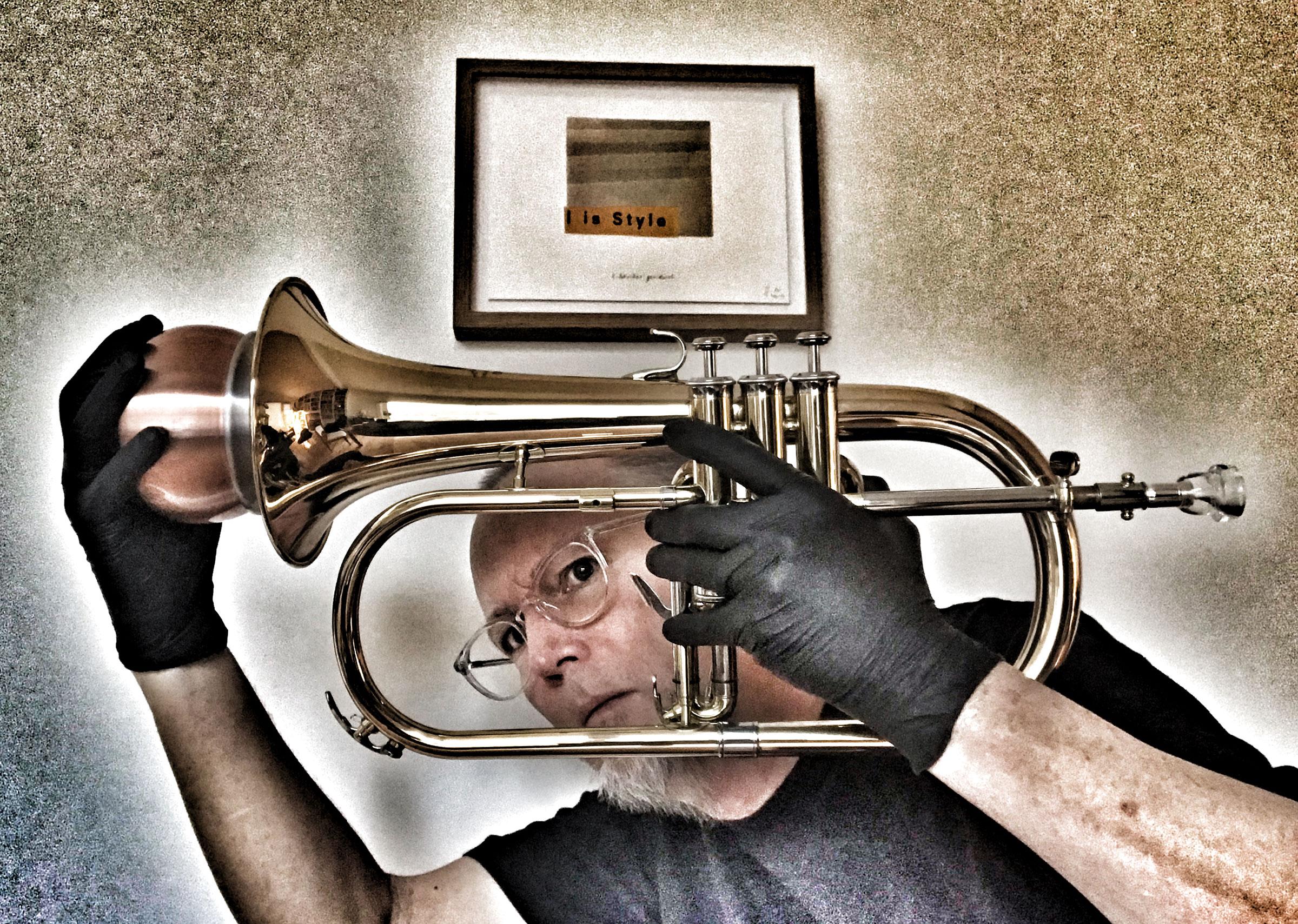 Jeff Kaiser, Self-Portrait with Flugelhorn