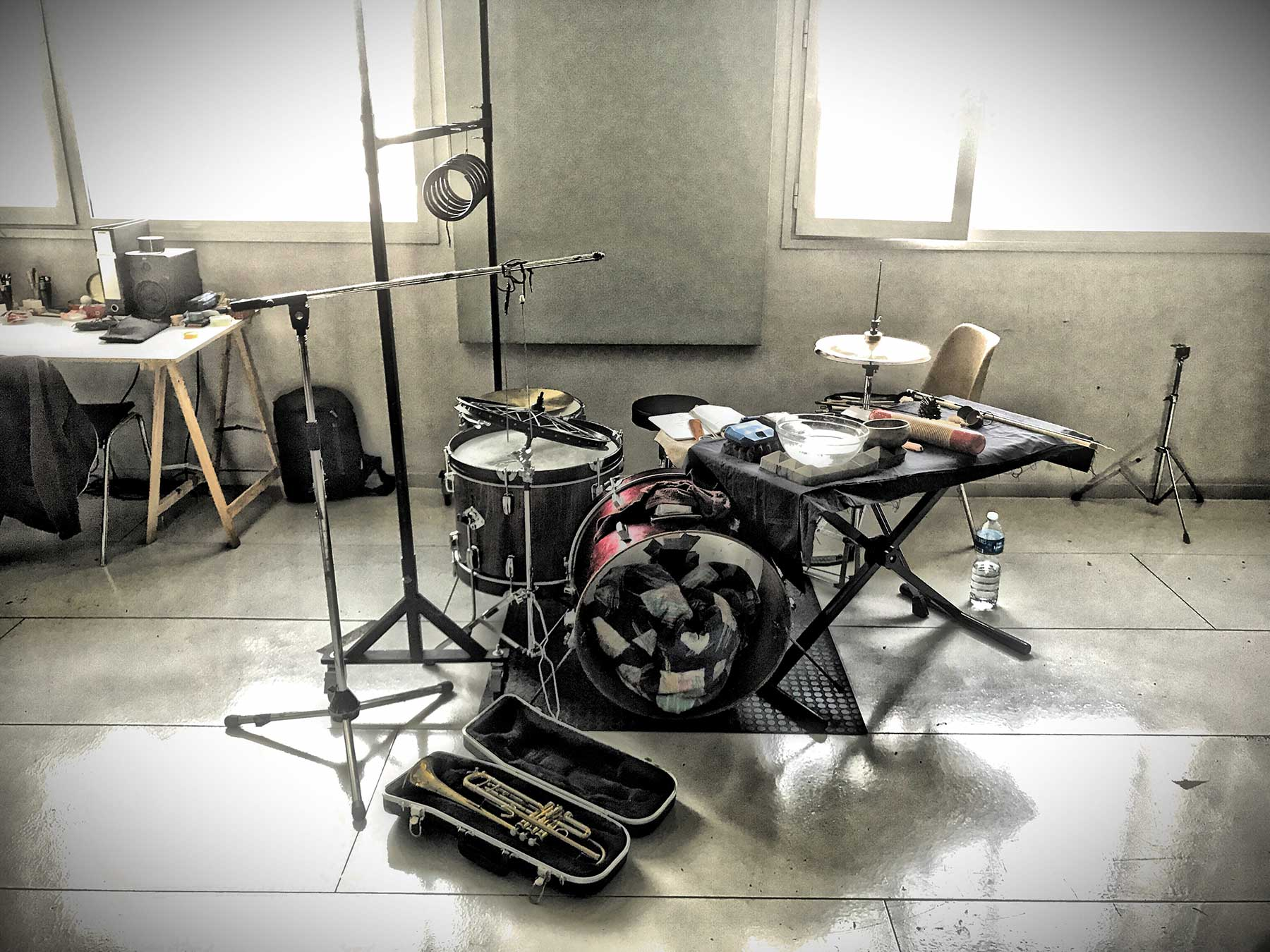 The Forgetting Machine (Jeff Kaiser and Luis Tabuenca) recording at Fabra i Coats, Barcelona, Spain
